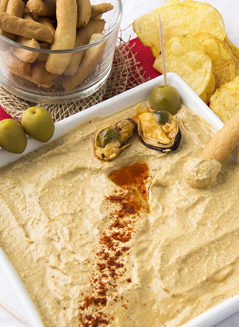 Muscheln und Käsevorspeise